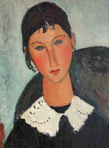 Amedeo Modigliani, Elvire au col blanc (Elvire à la collerette) (1917-1918). Particolare