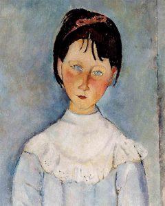 Amedeo Modigliani, Fillette en Bleu (1918). Particolare