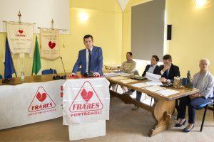 La relazione del presidente Fratres, Armando Mastroviti, durante l'ultima festa sociale