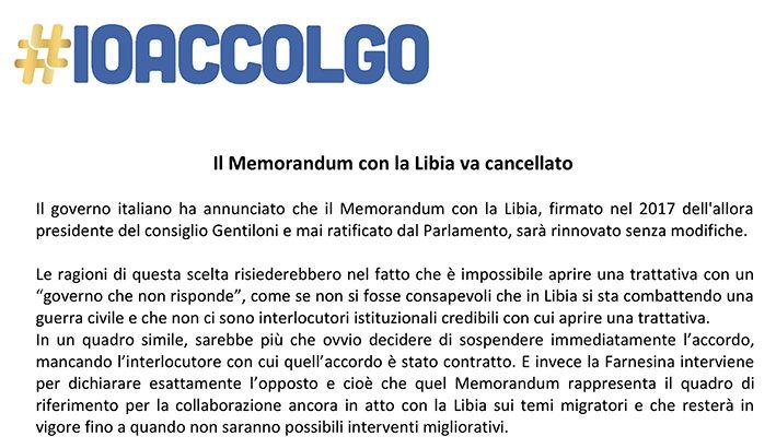 Inaccettabile il rinnovo del Memorandum Italia – Libia