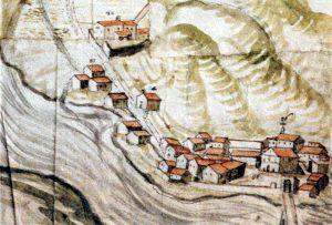 Il borgo della SS.Annunziata con il ponte di Saliceto in una mappa della metà del XVII secolo
