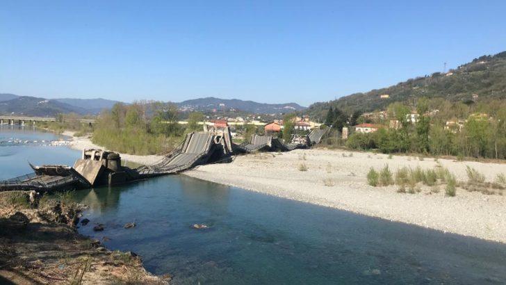 Un altro disastro  annunciato: crollato il ponte della Bettola ad Albiano Magra
