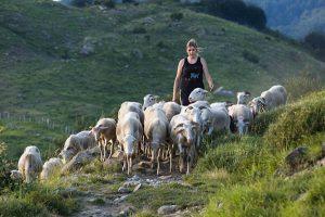 Una giovane allevatrice zerasca conduce il suo gregge al pascolo