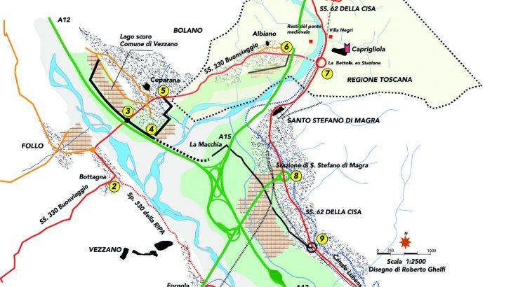 I nodi viari della Bassa Lunigiana