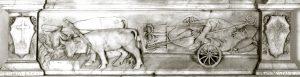 La miracolosa traslazione del corpo di San Terenzo nella valle del Bardine: particolare della predella della pala marmorea