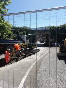 I lavori in corso presso il sottopassaggio della ferrovia a Filattiera