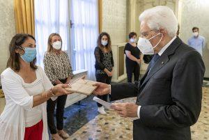 Il Presidente della Repubblica Sergio Mattarella nel corso dell'incontro con i familiari delle vittime del Ponte Morandi
