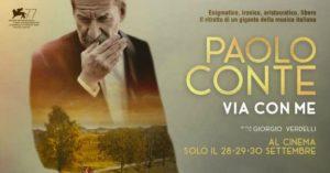 La locandina del film sul cantautore Paolo Conte in programmazione al Cinema Manzoni