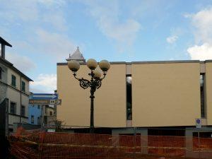 Una fase dei lavori alla biblioteca comunale di Villafranca